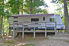 Rental trailer at Four Seasons Camping Area.